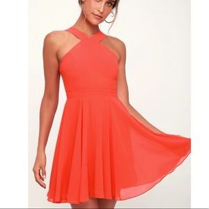 Lulu's Forevermore Coral Red Skater Dress